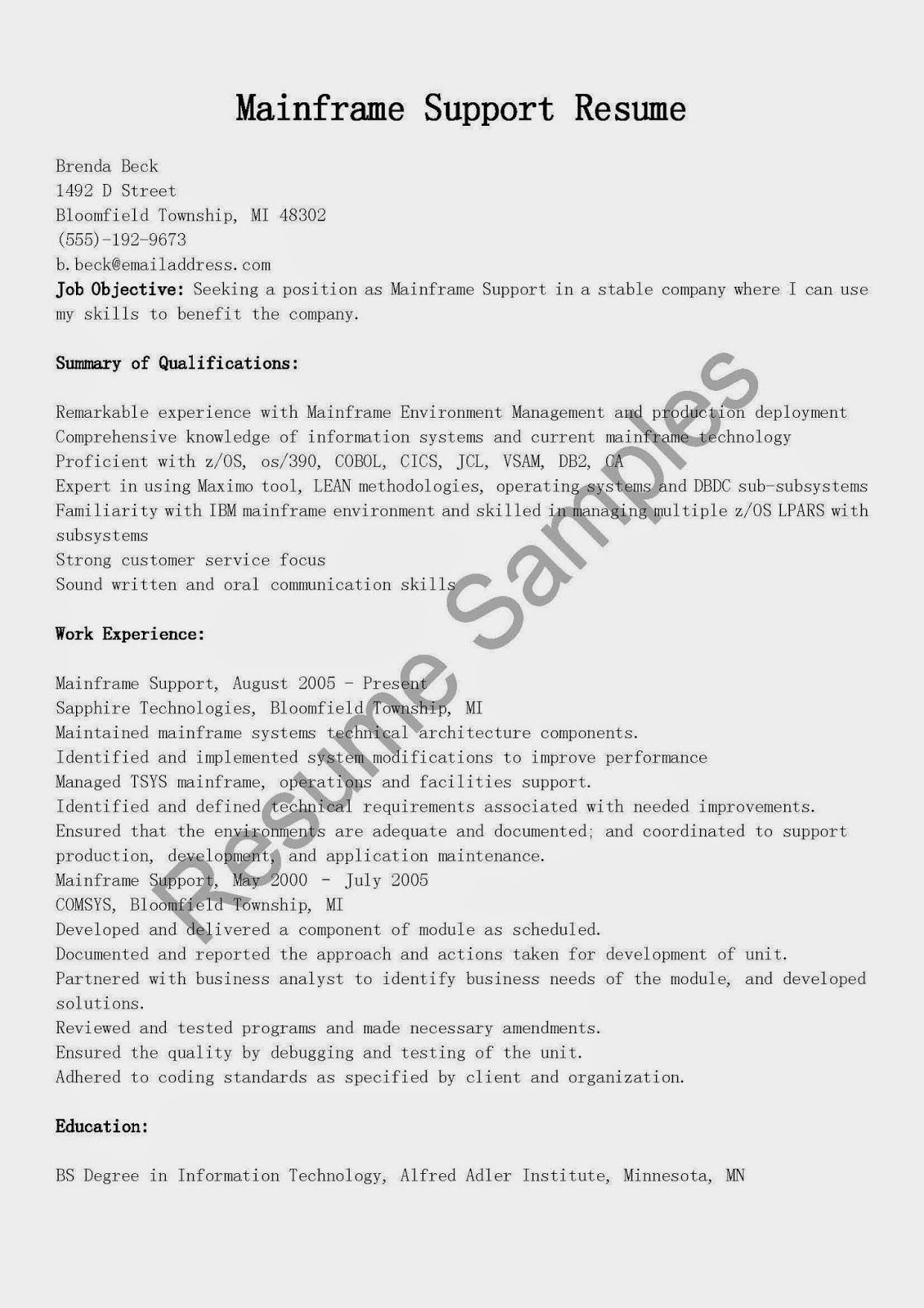 Mainframe Support Resume Sample  Resume Samples
