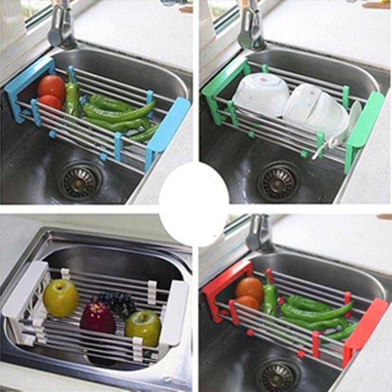 Stainless Steel Scalable Telescopic Kitchen Sink Dish Rack Insert ...
