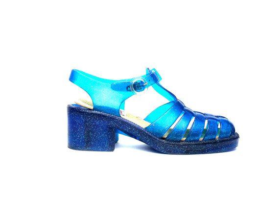 90's Blue Glitter Jelly Sandals | 90s