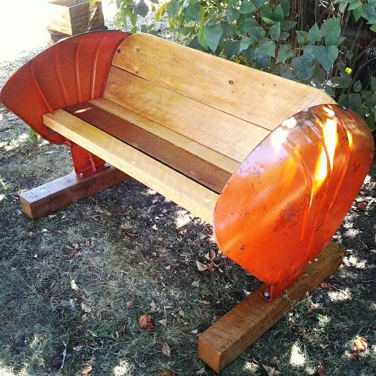 Reclaimed Wood Tractor Fender Bench The Vintage Tin Mn