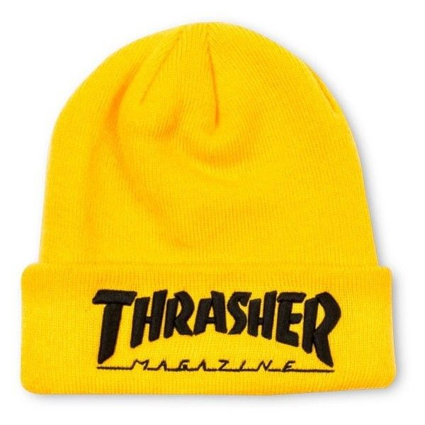 Embroidered Logo Beanie Yellow Black ❤ liked on Polyvore featuring  accessories d70f2359a88
