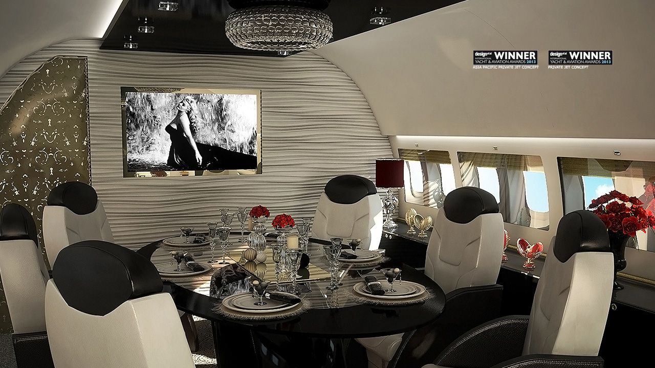 Private jet interior furnished like a vintage train aviation - Find This Pin And More On Ac Interior Design Luxurious Private Jet