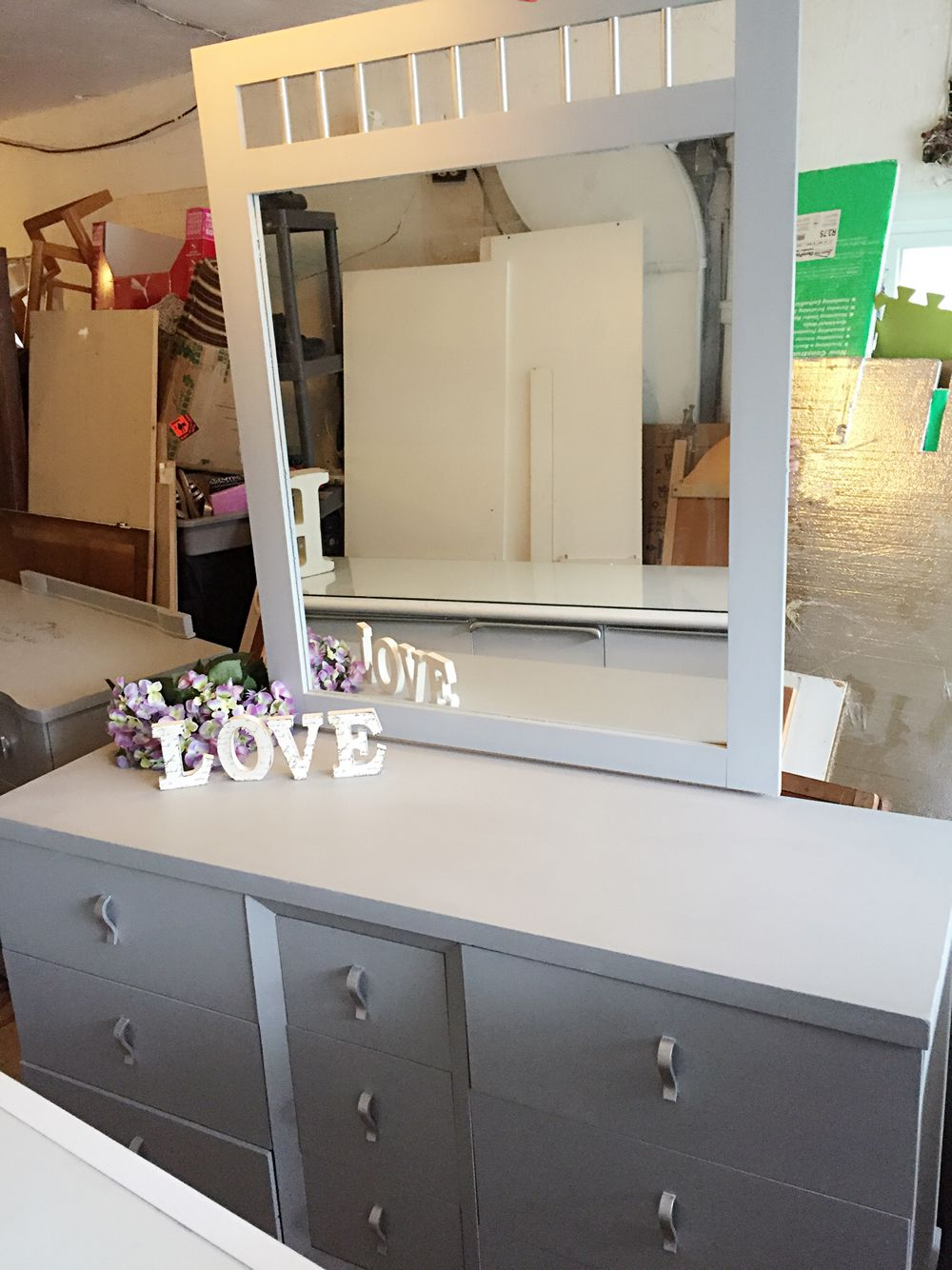 Solid Wood Grey Dresser Refinished In Greg Color And Silver Accent Mirroir