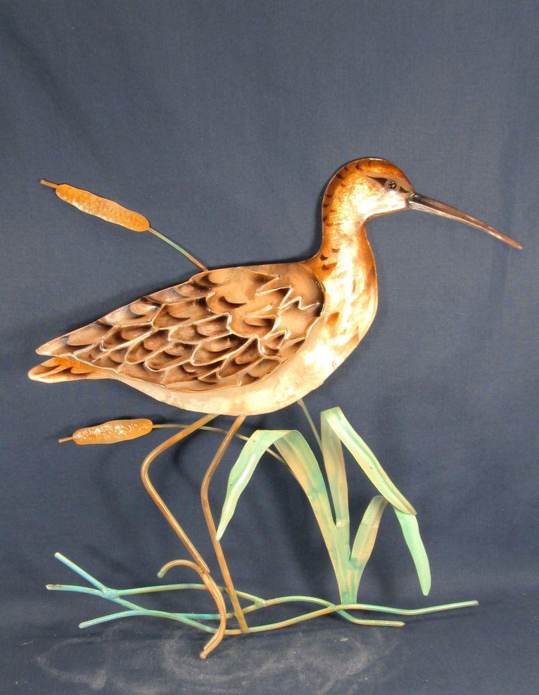 Sandpiper Sea Bird in Cattails metal wall art home decor | Beach ...