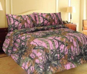 NO SHEETS KING SIZE PINK CAMO 6 PC CURTAINS COMFORTER SET CAMOUFLAGE MICROFIBE
