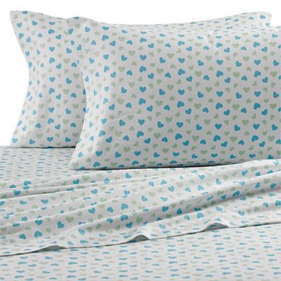 Bed Bath And Beyond Flannel Sheets Entrancing Teen Vogue® Vintage Heart Flannel Sheet Set In Aqua Design Inspiration