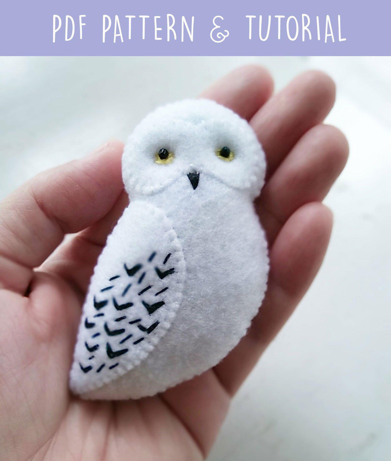 Pdf Pattern Of White Snowy Owl Felt Brooch Ornament Soft Toy Easy Craft For Children Diy Hedwig Harry Potter Owl Jewelry Felt Owls Harry Potter Owl Felt Crafts