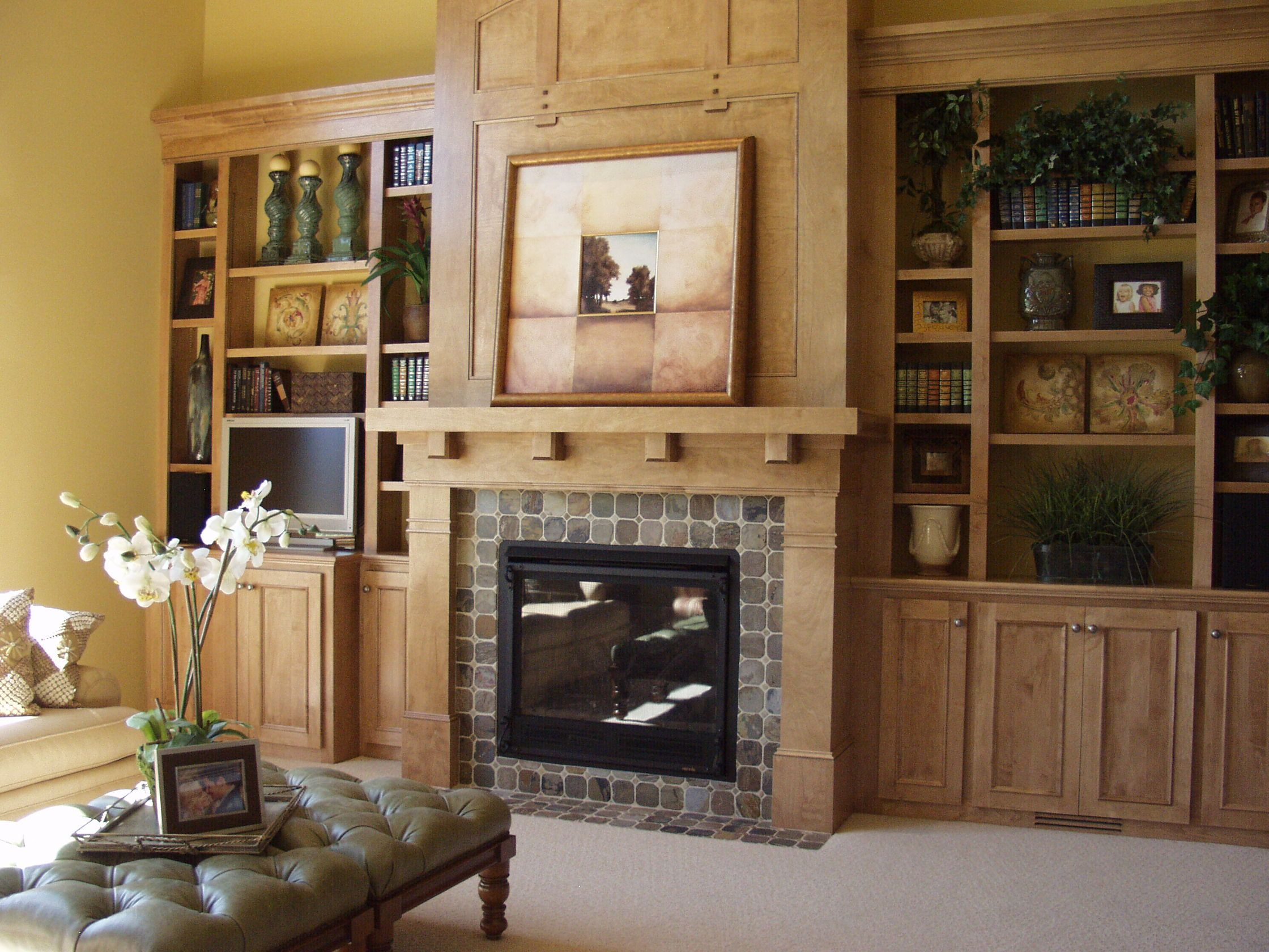20 living room with fireplace that will warm you all Built in shelves living room