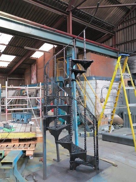 Best Black Reclaimed Barley Twist Cast Metal Spiral Staircase 400 x 300