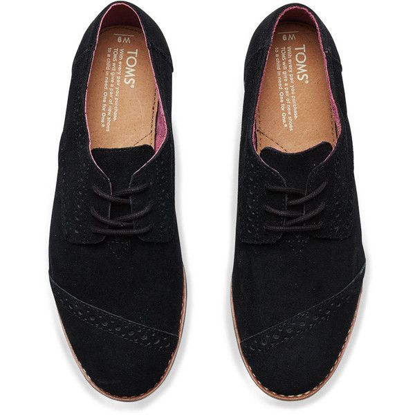 d5696d826cd TOMS Black Suede Women s Brogues (115 NZD) ❤ liked on Polyvore featuring  shoes