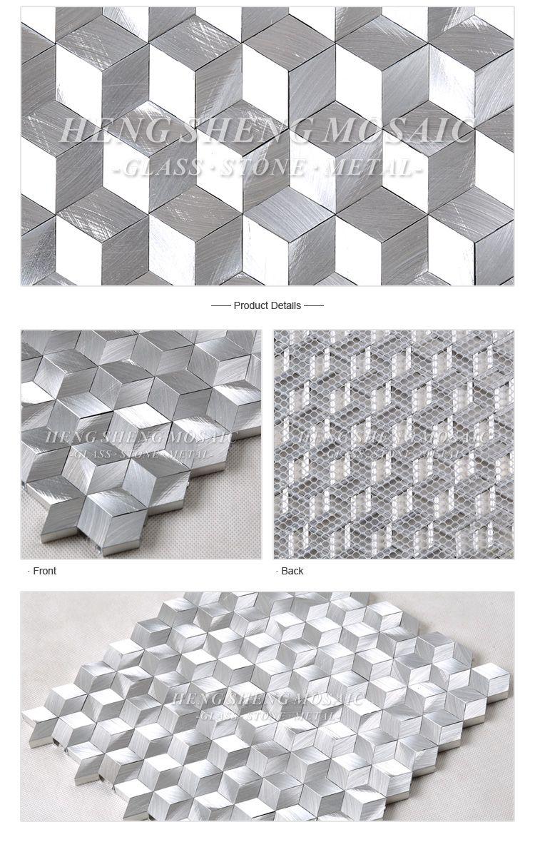 3d effect silver white aluminium hexagon diamond shape mosaic tile for wall decoration