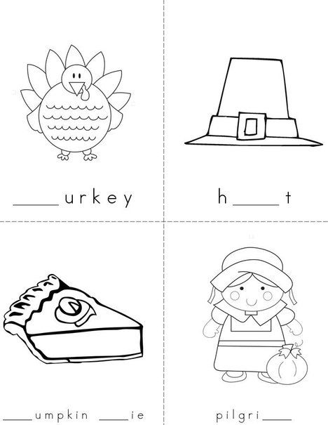 Thanksgiving Missing Letters -Mini Book from TwistyNoodle.com
