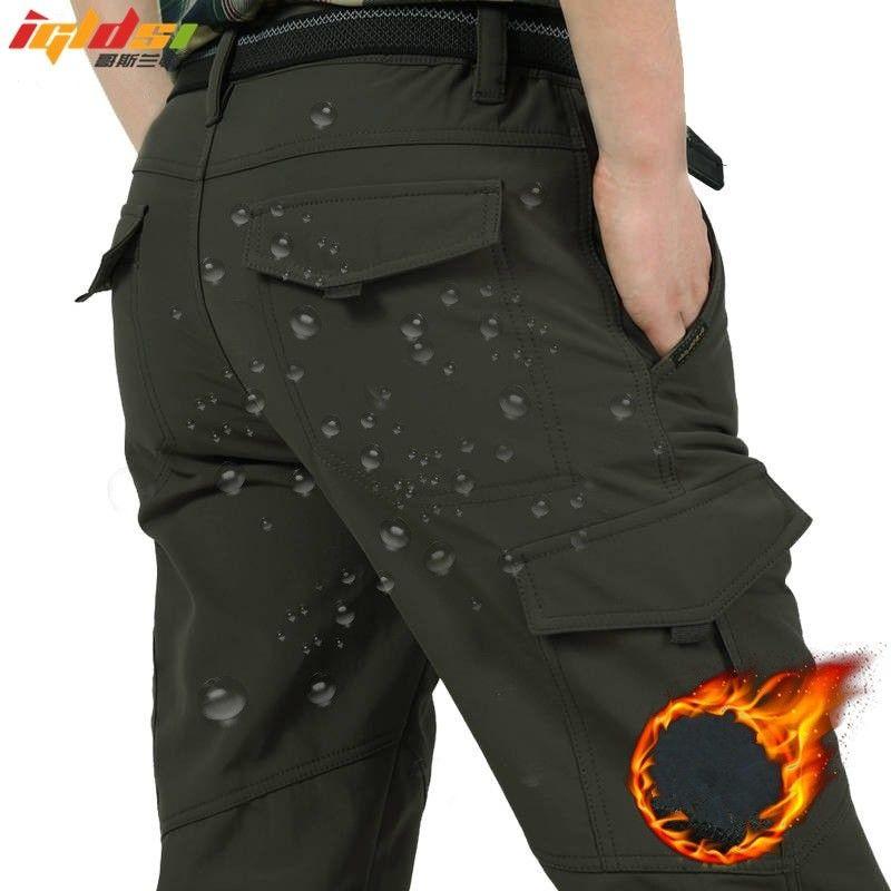 87ad131c6b7 Men s Fleece Tactical Pants Winter Warm Cargo Pant Military SoftShell Work  Trousers Shark Skin Thick Warm Waterproof Pants M-4XL