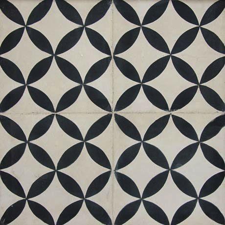 carreaux de ciment | carocim | motif trame circulaire | noir et ...