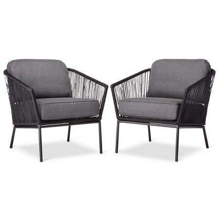 Standish 2pk Patio Club Chair Black Gray Project 62 Target