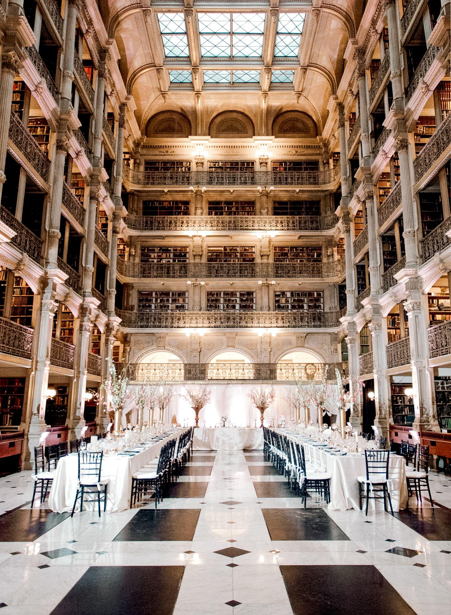 Cherry Blossom Themed Wedding At The Peabody Library George Peabody Library Peabody Library Library Wedding