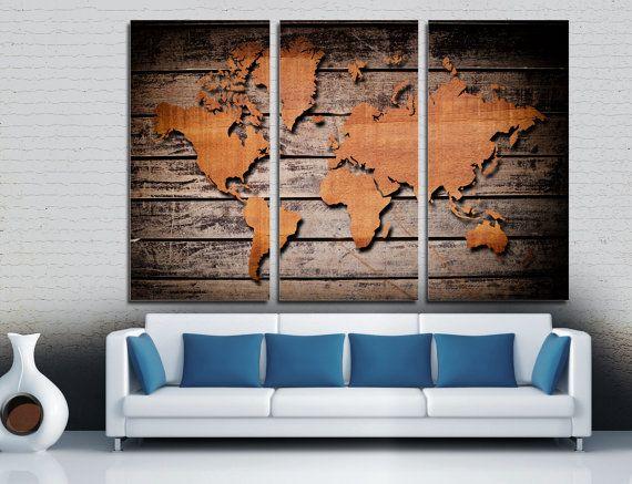 3 panel split triptych wood style world map canvas by canvasquest 3 panel split triptych wood style world map canvas by canvasquest sciox Images