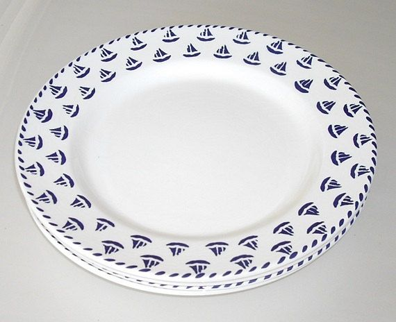 Rare Furio Nautical Dinner Plates Blue Sailboats by designfrills $36.00  sc 1 st  Pinterest & Rare Furio Nautical Dinner Plates Blue Sailboats discontinued ...