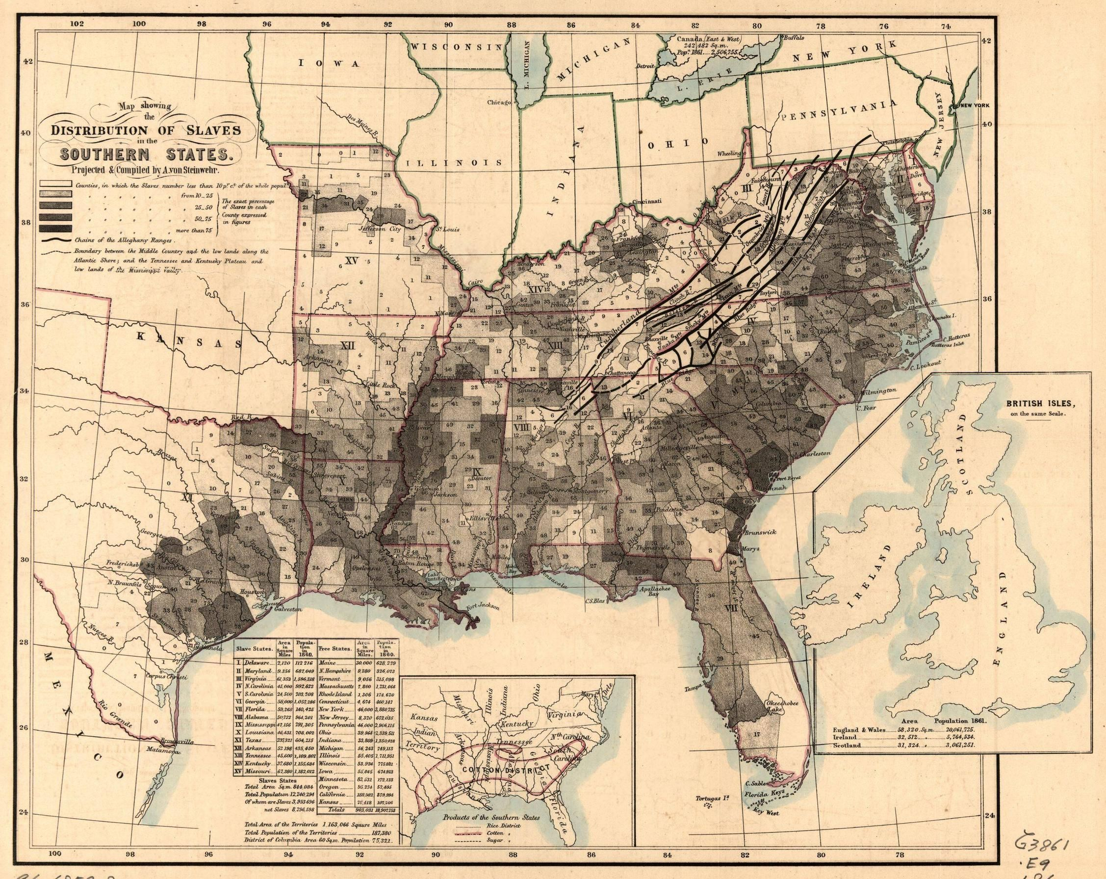 1860 \'Distribution of slaves in Southern States\' #map #slavery ...