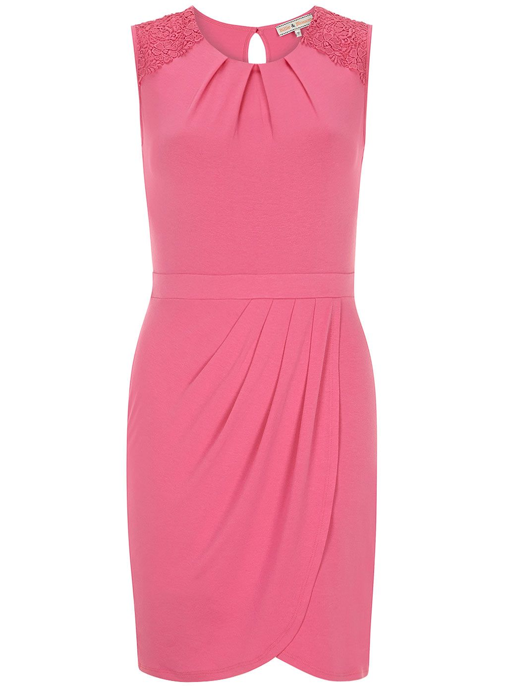Pink sleeveless jersey dress with lace shoulders and wrap.   blusas ...