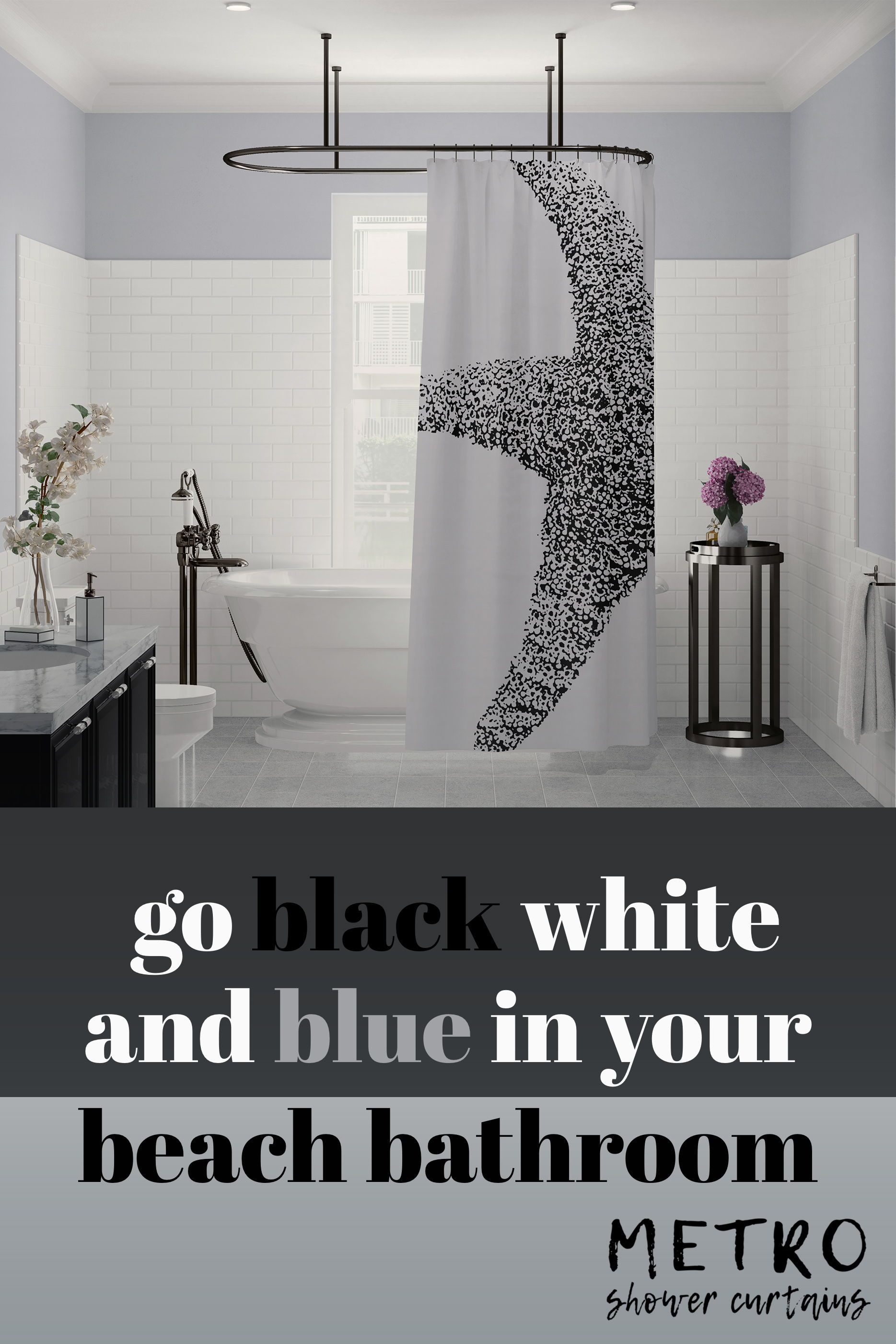 Black And White Art Print Starfish Shower Curtain Beach Bathroom Decor Cool Shower Curtains Beach Bathroom Design
