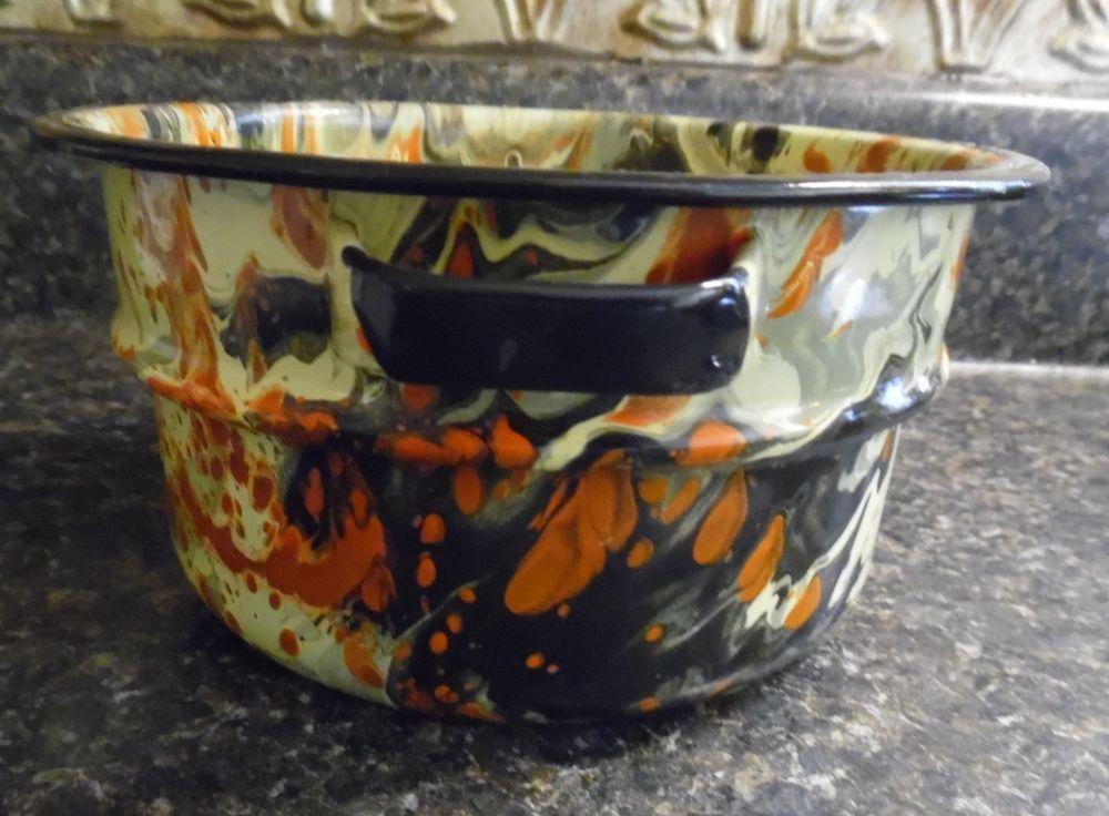 Vintage End Of Day Swirl Enamel Granite Ware Multi Colored