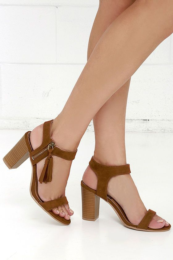 Tassel Time Dark Rust Suede High Heel Sandals