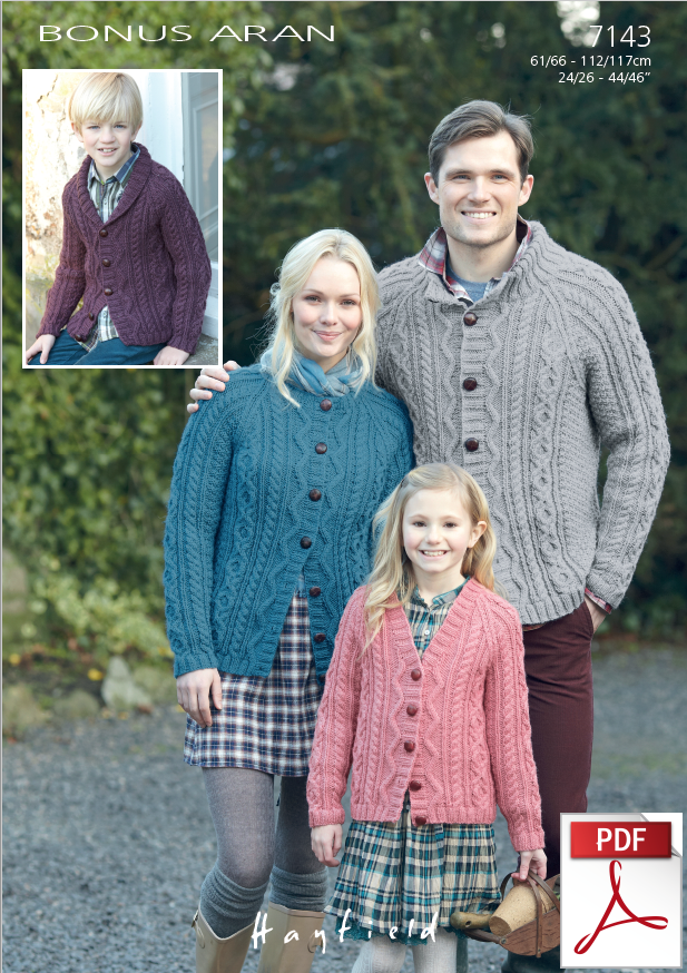 e035ea0287efb Hayfield 7143 - Cardigans in Bonus Aran Pattern - PDF Download - The Crafty  Knitter