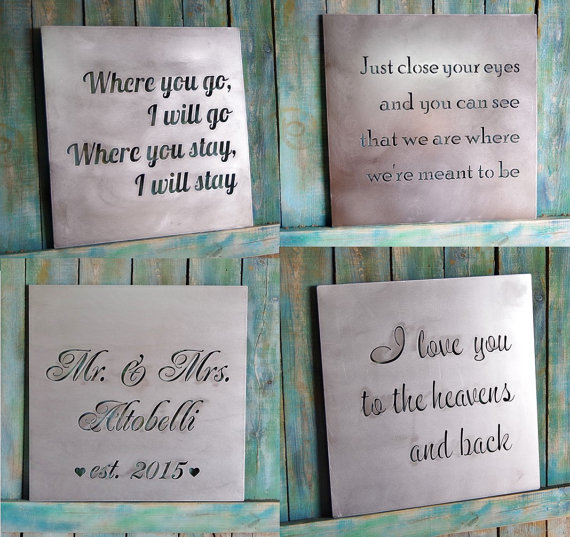 Personalized Wall Art valentine gift, custom metal quote sign and sayings, inspirational
