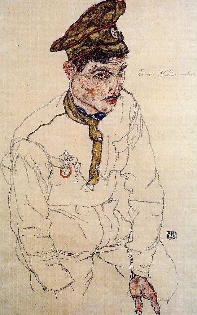 Russian Prisoner of War (Grigori Kladjishuli), 1916  by Egon Schiele (1890-1918): Austrian  http://www.wikipaintings.org/en/egon-schiele/russian-prisoner-of-war-grigori-kladjishuli-1916
