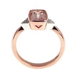 Dramatic cushion cut Morganite and rose gold engagement ring | Harriet Kelsall
