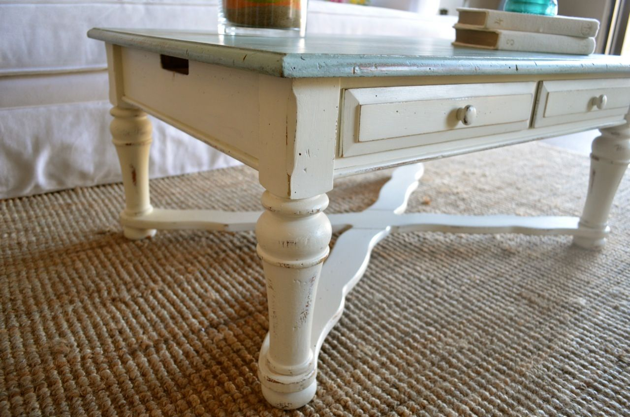 Aqua and white coffee table very beachy by Analia Pastori Available