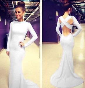 Women-Long-Sleeve-Prom-Ball-Cocktail-Party-Dress-Formal-Evening-Gown-Mermaid-New