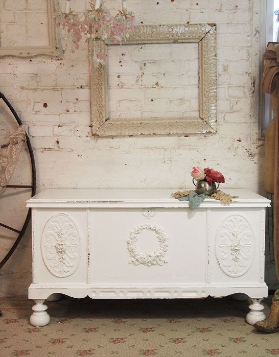painted cottage chic shabby white hope chest by paintedcottages rh pinterest com au