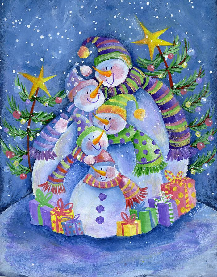 paintings of snowmen images   Snowman Family Painting by Pat Olson ...