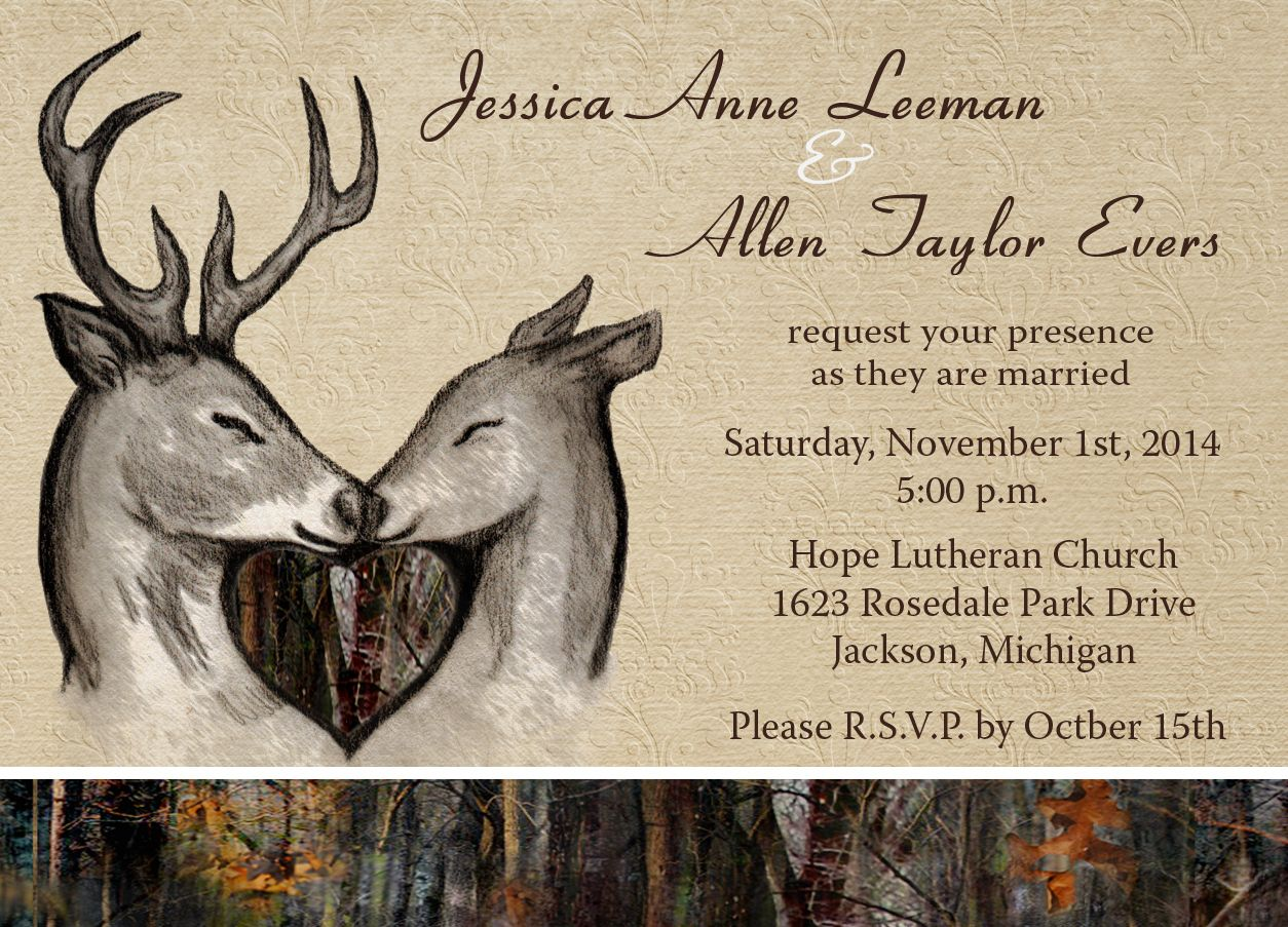 camo & deer wedding invitations (12 minimum) | camo wedding, Wedding invitations
