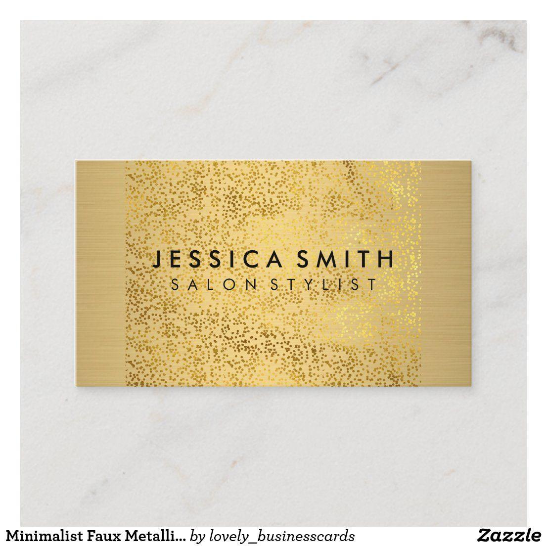 Minimalist Faux Metallic Gold Flakes Pattern Business Card Zazzle Com Business Card Pattern Hairstylist Business Cards Stylist Business Cards