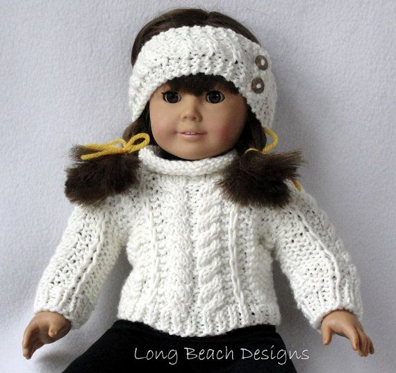 Knitting PATTERN Doll Aran Sweater and Warmer Set for | Muñecas ...