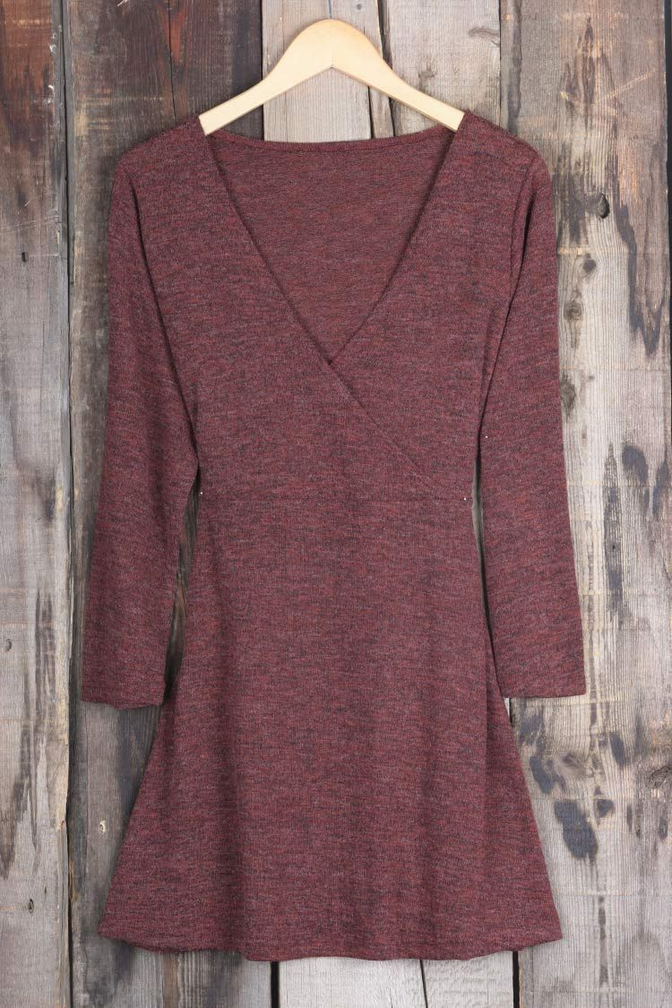 Have this basic cross babe with $24.99 Only&easy return&refund! This front cross plunging neckline dress gonna give you this burgundy wine like feel. Find it at Cupshe.com