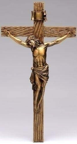 Wall Crucifix Brown Wood Look Cross Antique Gold Finish Corpus - Religious articles