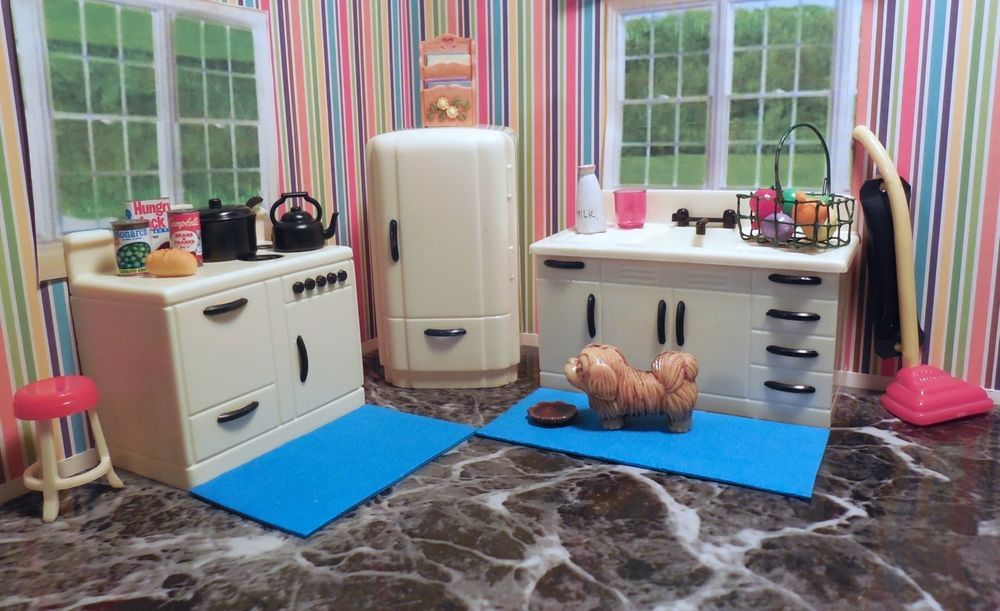 Attractive Ideal Renwal KITCHEN APPLIANCE SET Vintage Tin Dollhouse Furniture Plastic 1 :16