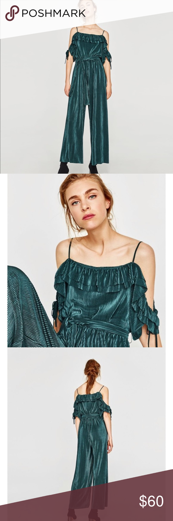 4a3032a51010 Zara Off the shoulder long ruffle pleated jumpsuit Zara Off the shoulder  long jumpsuit with ruffle neckline. Like new condition. Beautiful forest  green ...