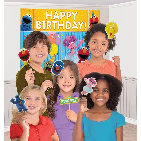 SESAME STREET Scene Setter birthday party kit w//12 photo booth props Elmo Abby