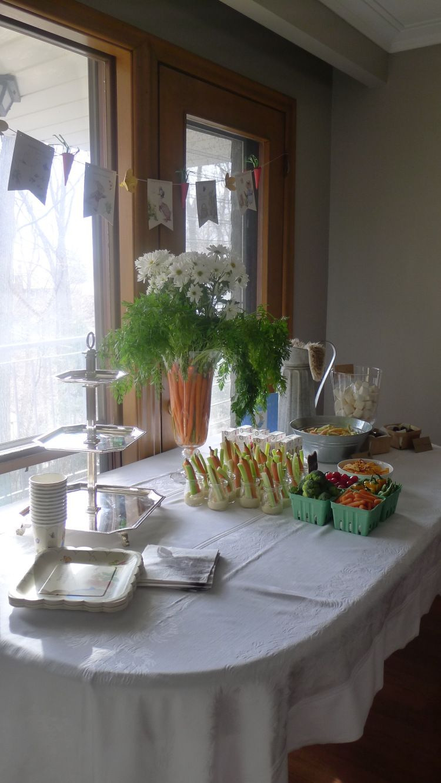 Peter Rabbit theme birthday party centerpiece, Carrots & Daisies