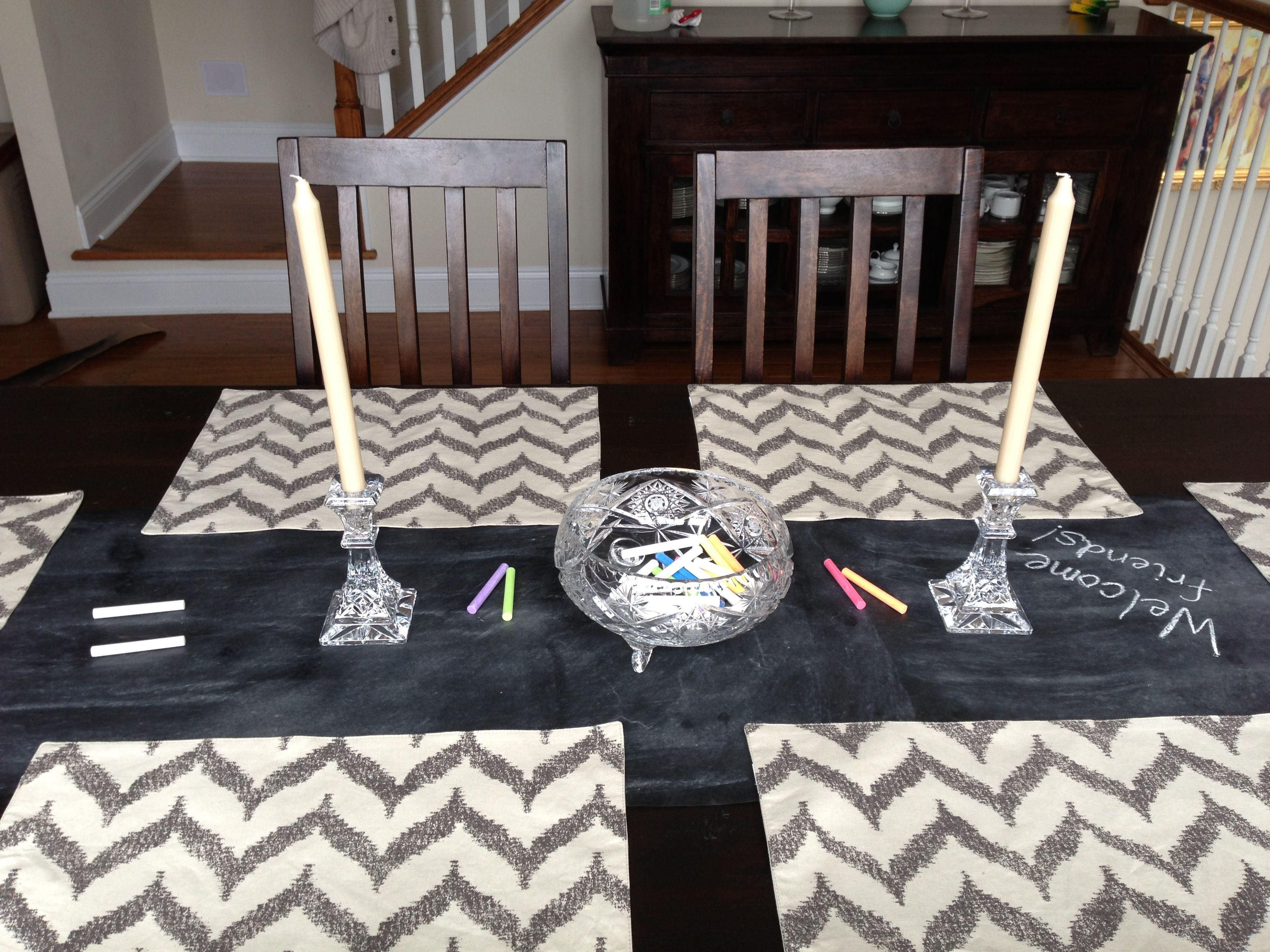Chalkboard Table Runner Paint On Craft Paper Cut To Size Chevron Placemats
