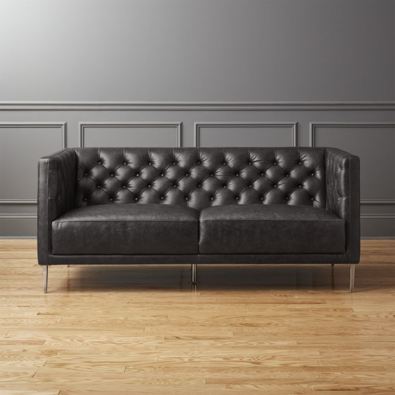 Savile Black Leather Tufted Apartment