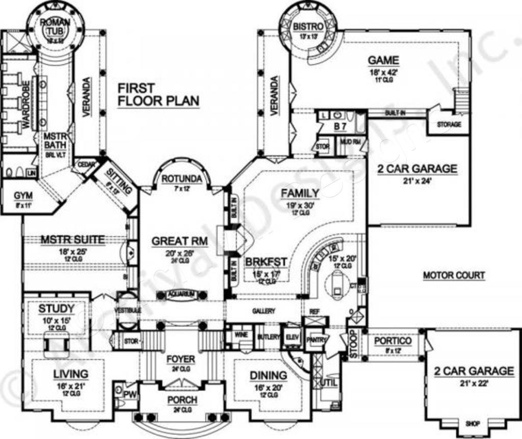 Villa DEste House Plan   Mediterranean Floor   House Plan   First Floor Plan