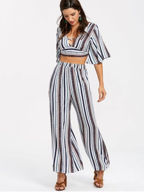 ffa3ac78e036 Shop for [24% OFF] 2019 Striped Palazzo Pants Two Piece Set in MULTI of  Two-Piece Outfits from Women collections and check 1000000+ hottest styles at  ZAFUL ...