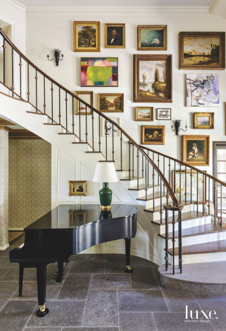 Traditional Piano Staircase with Gallery Art Wall