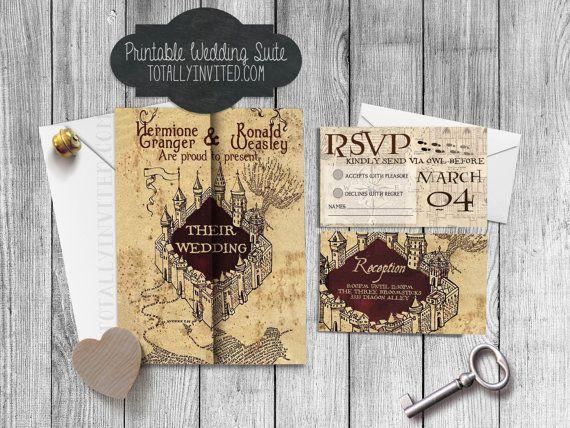 custom harry potter inspired marauders map wedding invitation set, Wedding invitations